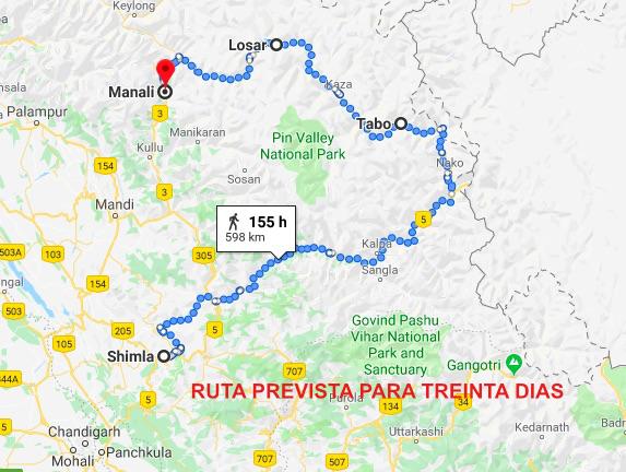 ruta prevista india